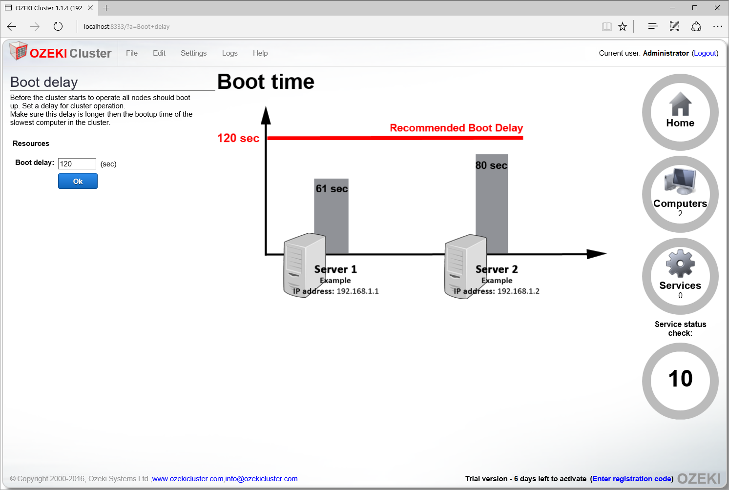 Setting the boot delay in Ozeki Cluster