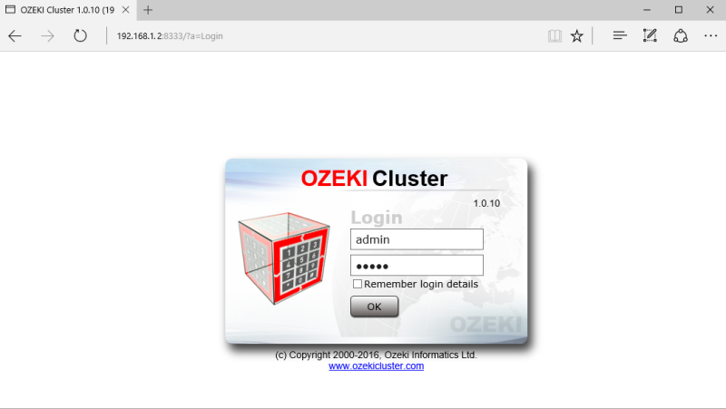 Login page of the Ozeki Cluster