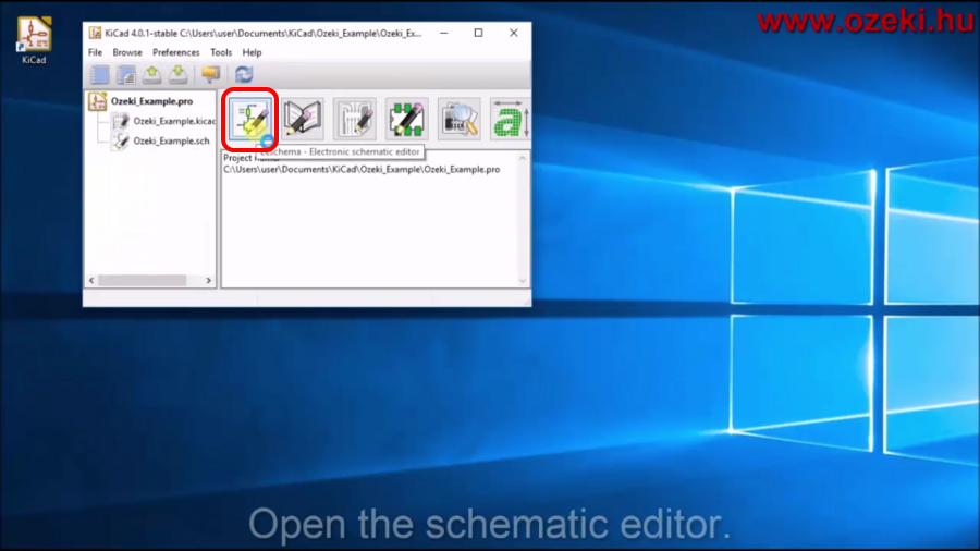 Opening the schematic editor