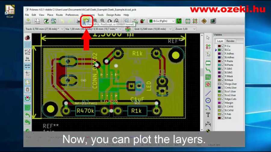 Start plotting layers from the KiCad top menu