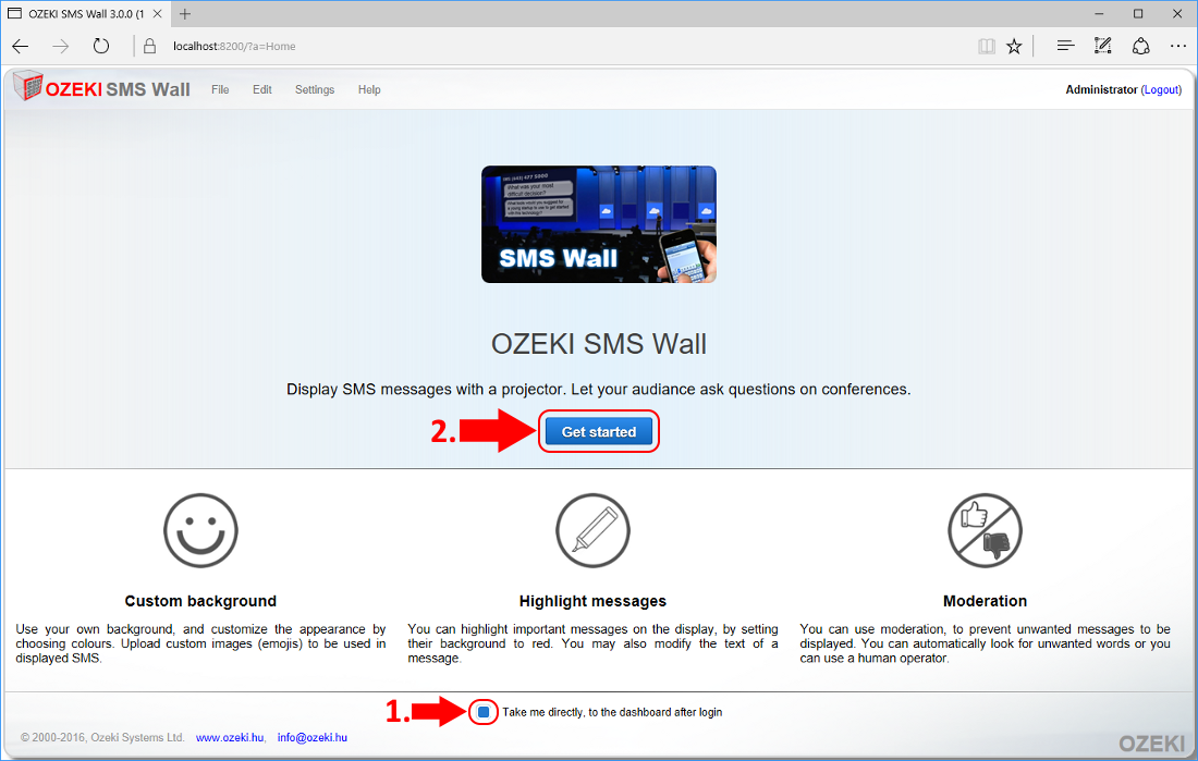 Ozeki SMS Wall welcome page