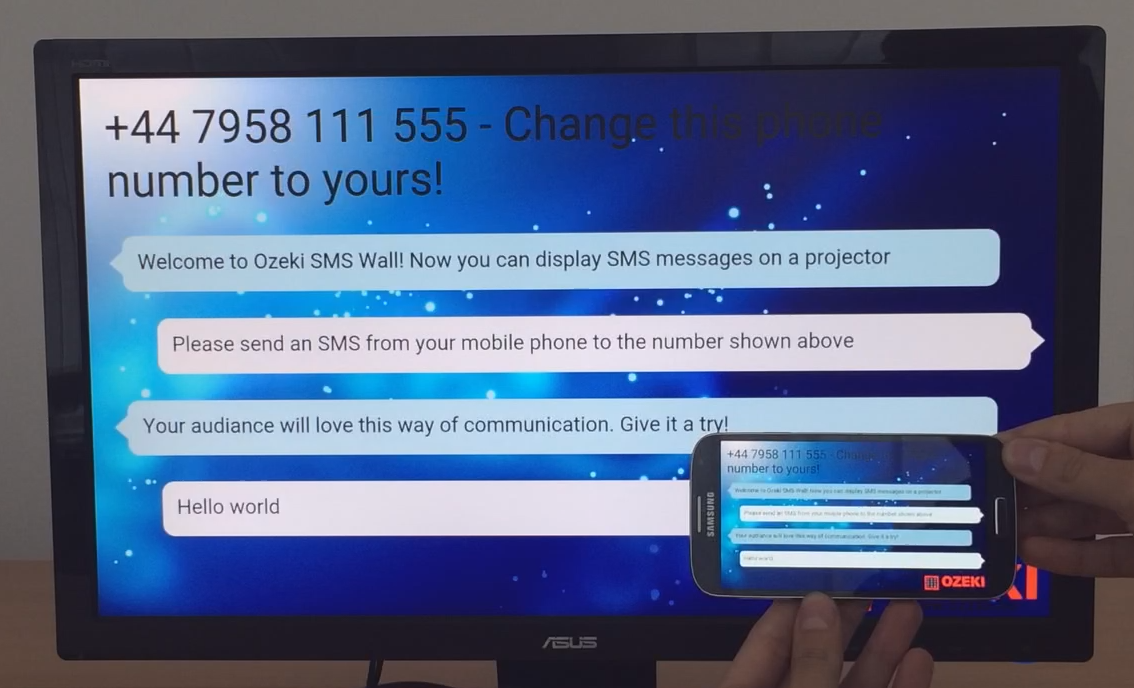The SMS wall is set to fullscreen mode
