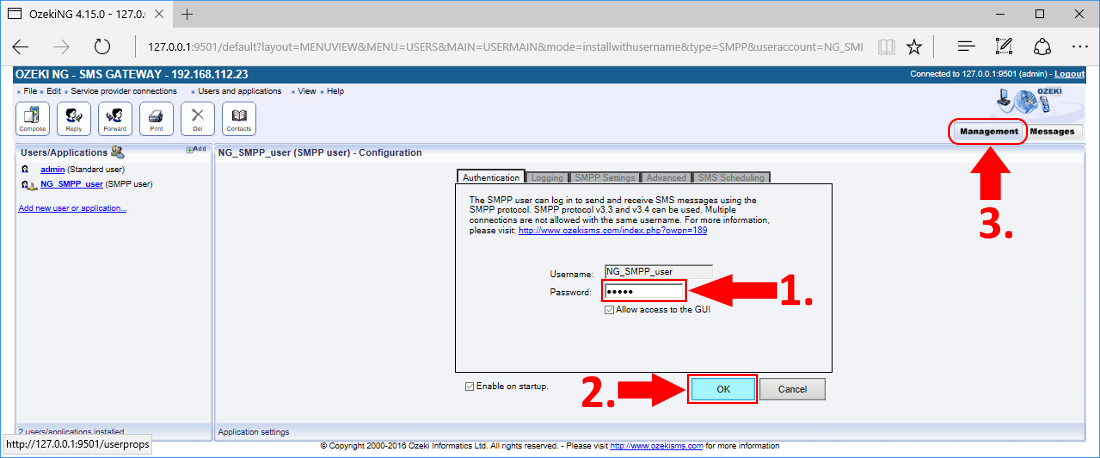 Providing an SMPP user application password