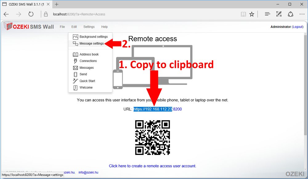 Copy IP address to clipboard