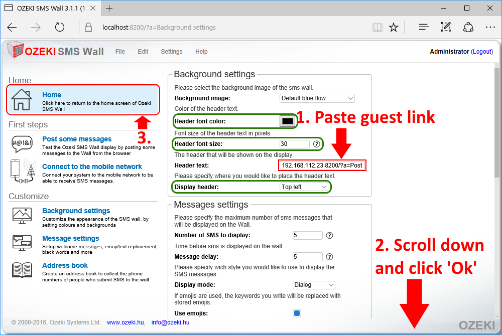 Pasting guest message link from clipboard