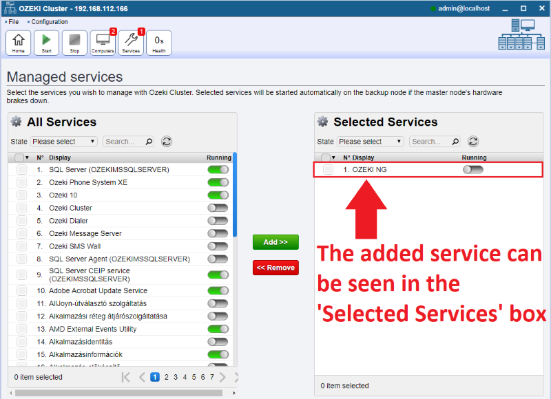 selected services list